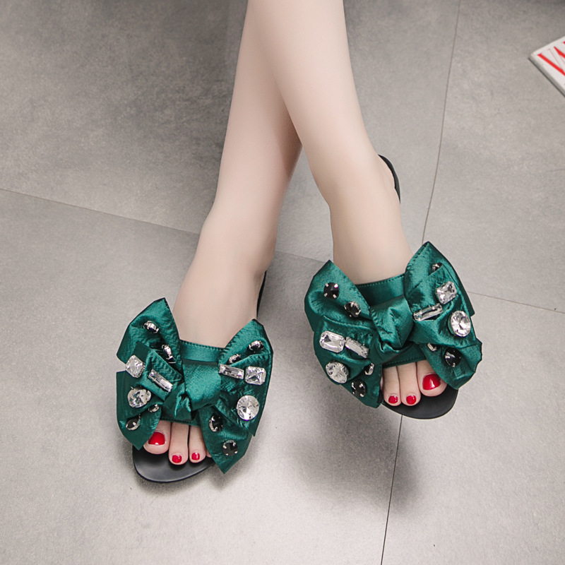 Sandals Muffins Platform Rivet Slippers Casual Black Bow-Knot Shoes For Women Beach Cool Flats Sandal Flip Flops Plus Size 35-41