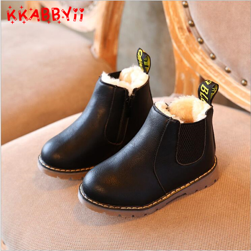 KKABBYII Kids Boots New Winter Toddler Boys Girls Snow Boots Classic Children Casual Shoes British Style Martin Boots size 21-36