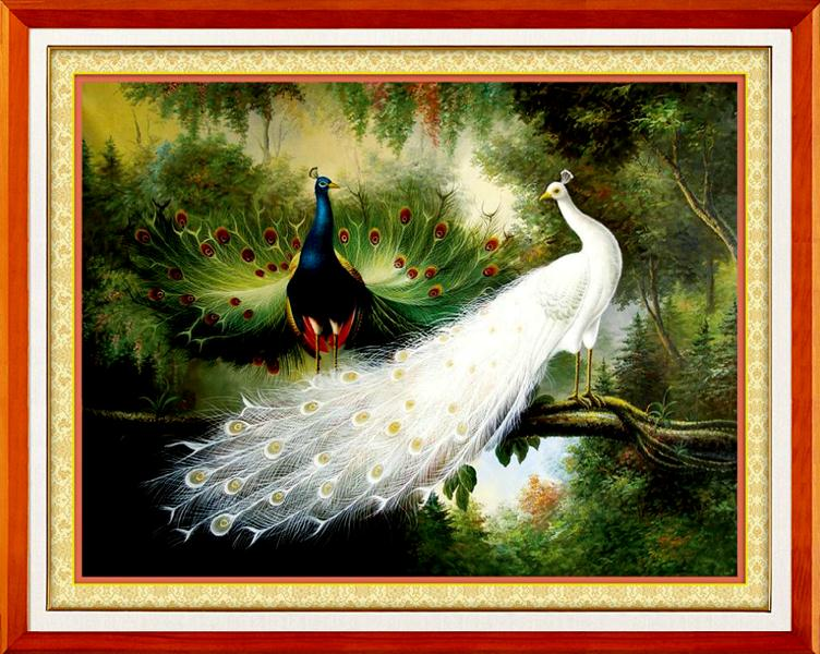 Peacock Cross-stitch Silk Cotton Thread Needlework Count 14ct 11ct Accurate Printed Cross Stitch World Famous Oil Painting