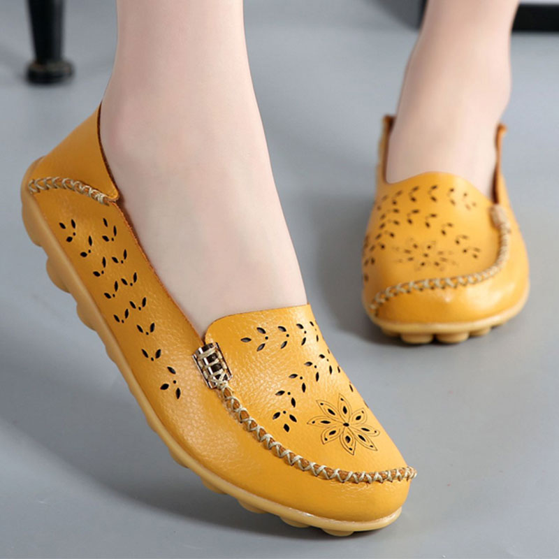 Designer Ballet Flats Women Genuine Leather Moccasins Loafers Slip On Summer Flower Casual Shoes Size 35-44 designer women loafers flower genuine leather shoes ladies moccasins ballet flats round toe casual zapatos mujer size 35 44