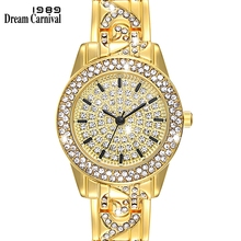 Dreamcarnival 1989 Elegant Women Watch with Shiny Crystal Dial Three Hands Black Bahrain Arab Saudi Top Selling Clock A8336