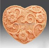 Diy kalp tasarım silikon sabun kalıpları el yapımı flower silikon kalıp sabun yapımı için