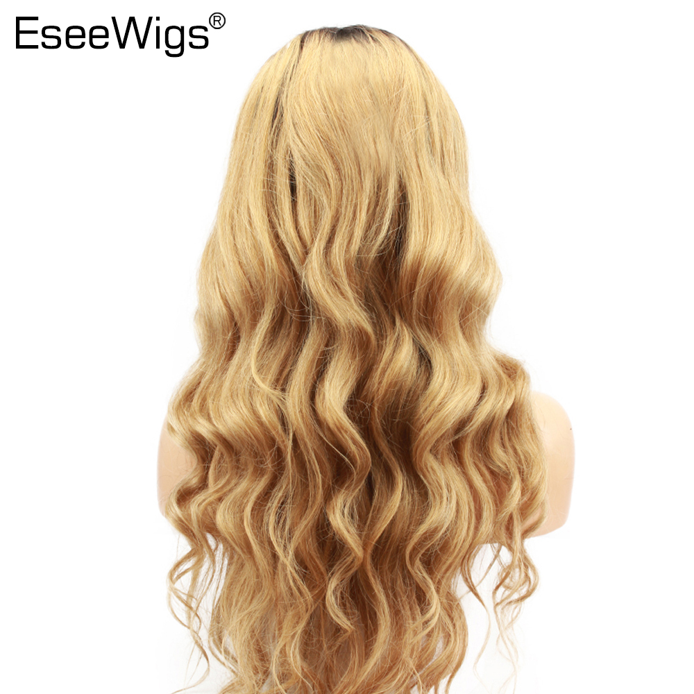 Eseewigs Blonde Ombre Human Hair Wig With Baby Hair 1b/27 Dark Roots Blonde Brazilian Remy Hair Lace Front Wigs For Black Women