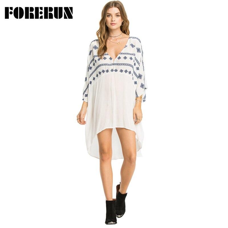 FORERUN D'été Plage Robe pour Femmes Casual Vacances Robes V Neck Printed Batween Manches Irrégulière Robe De Playa