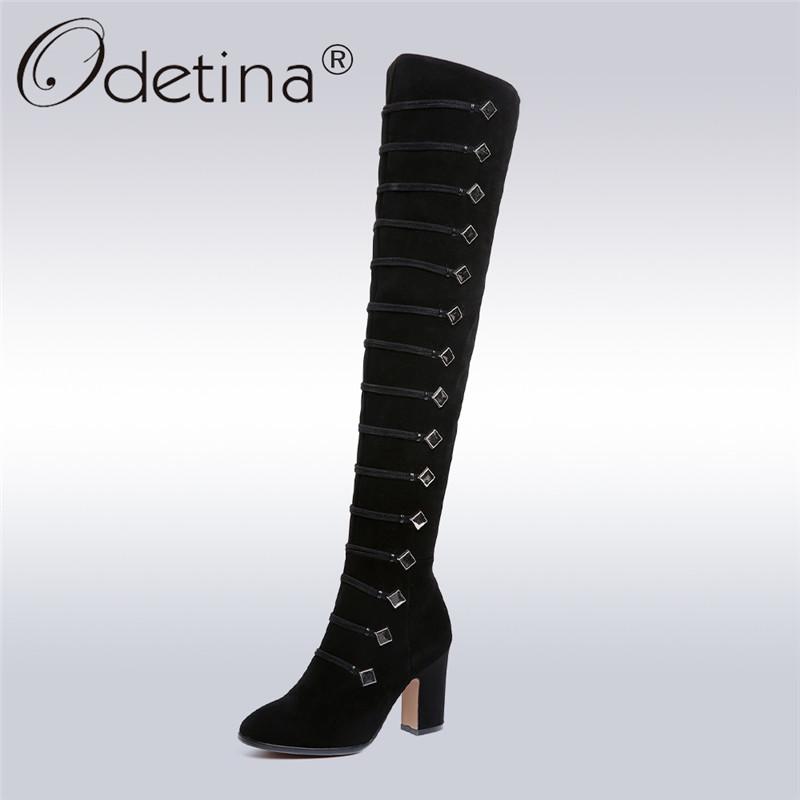 Odetina Brand 2017 New Genuine Leather Cow Suede Women's Suede Thigh High Boots Block High Heel Over The Knee Boots Winter Shoes avvvxbw 2016 new brand long boots fashion elastic over the knee boots shoes woman square heel genuine leather thigh high boots
