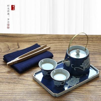 Jingdezhen ensemble de thé de voyage en céramique bleu et blanc peint à la main Antique Kung Fu vert noir théière thé tasse ensemble cadeau livraison gratuite