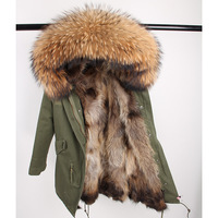 2019 Real Fur Coat Long Parka Outerweat New Fashion Natural Raccoon Fur Collar Fox Fur Inside Winter Jacket Women Outerwear New