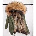 2019 real casaco de pele longo parka outerweat nova moda natural gola de pele de guaxinim pele de raposa dentro jaqueta de inverno feminino outerwear novo