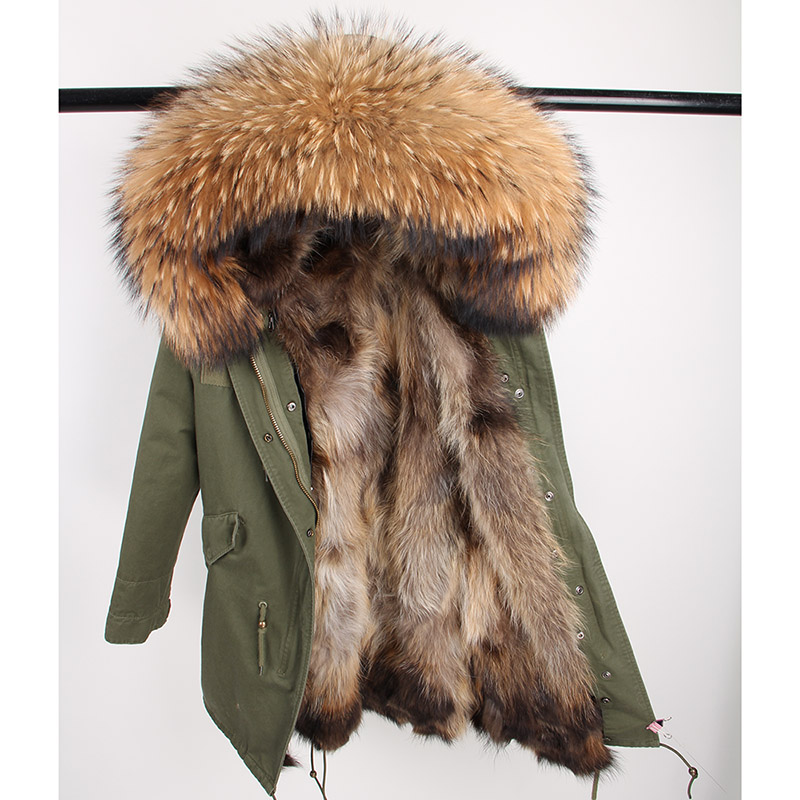 2020 Real Fur Coat Long Parka Outerweat New Fashion Natural Raccoon Fur Collar Fox Fur Inside Winter Jacket Women Outerwear New