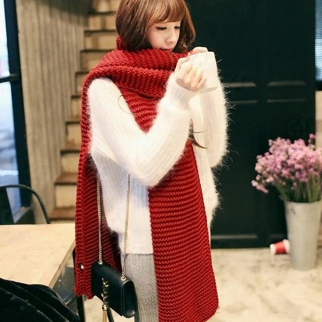 Новый женский мужской шарф корейский шерстяной женский зимний студенческий длинный толстый теплый вязаный зимний красный желтый nave синий черный серый шарф