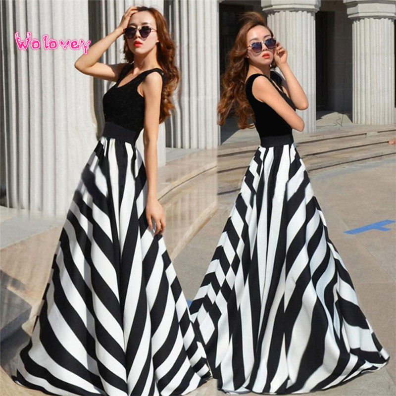 Summer Sleeveless Stripe Long Maxi Party Beach women Dress Refinement Elegant Personality Dreses For Female vestir robe #SW