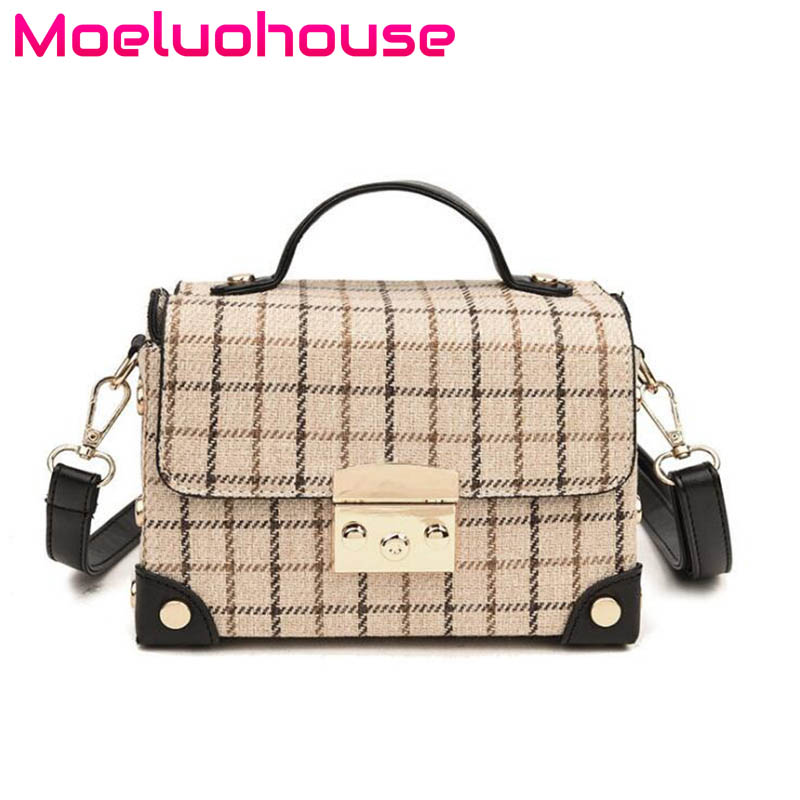 Moeluohouse Plaid Check Rivet Women Girl Shoulder Messenger Crossbody Box Bag Chain Hasp Flap Korean Style Cute Fashion Gift