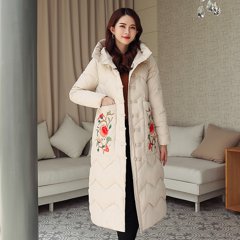 Coats Women Winter Warm Floral Embroidery Hooded Pockets Jacket Casual Long Sleeves Coat Large Size