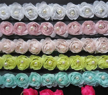 Soluble Chiffon Rose Flower Pearl Embroidered Fabric Lace Trim Ribbon Handmade DIY Sewing Supplies Craft For Costume Decoration(China)