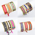 Handmade Cotton String Woven Frienship Bracelet With Gold Plated Alloy Chain Hippy Boho Embroidery Rope Bracelet