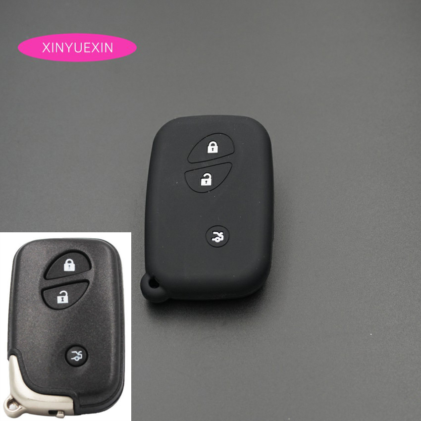 Xinyuexin Silicone Car Key Case Cover Fit For Lexus IS GS RX ES NX LS RC LX Remote Keyless Enter Silica Gel Car-styLing 3Buttons