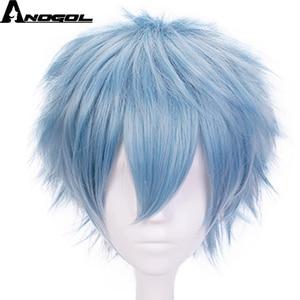 Image 2 - Anogol Anime My Hero Academy Boku No Hiro Tomura Shigaraki Short Natural Wave Blue Synthetic Cosplay Wig For Costume Party Boy