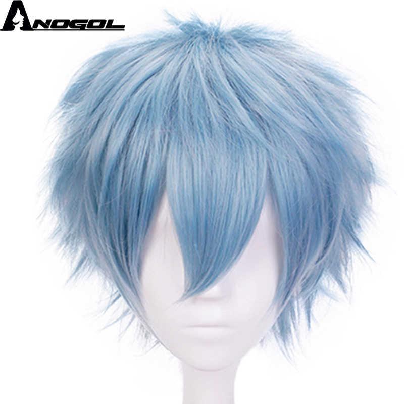 Anogol Anime akademia bohaterów Boku nie Hiro Tomura Shigaraki krótkie naturalne fale niebieska peruka syntetyczna Cosplay na impreza przebierana chłopiec