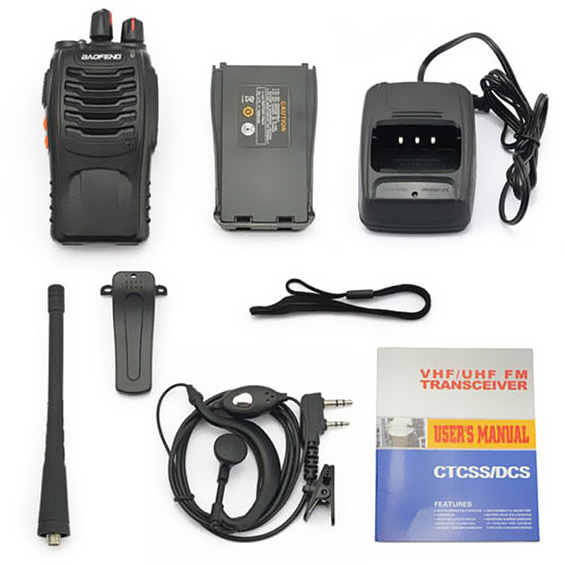 4PCS/LOT BaoFeng Walkie Talkie USB charge adapter BF-888S UHF 400-470MHZ 2-Way Radio 16CH Long Range with baofeng earphone