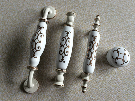 White Cream Dresser Knobs Pulls Drawer Pull Handles