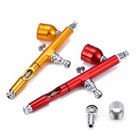 1pc Red Gold Airbrush Tool Dual Action Gravity Feed 0 3mm Tool Spray Airbrush Nail Art