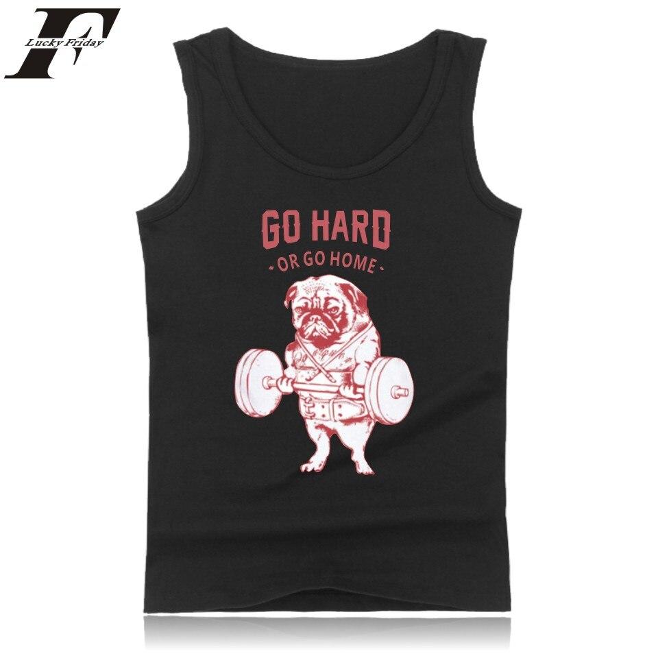 LUCKYFRIDAYF Pug Squat Vest Summer Sleeveless Funny Pattern Bodybuilding Tank Top Men Clothing 4xl Black And White