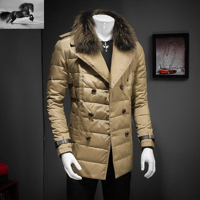 2017 Winter High-end brands Mens Fashion Winter Down Jacket With Natural Fur Collar White Duck Down Men Jackets Winter 918
