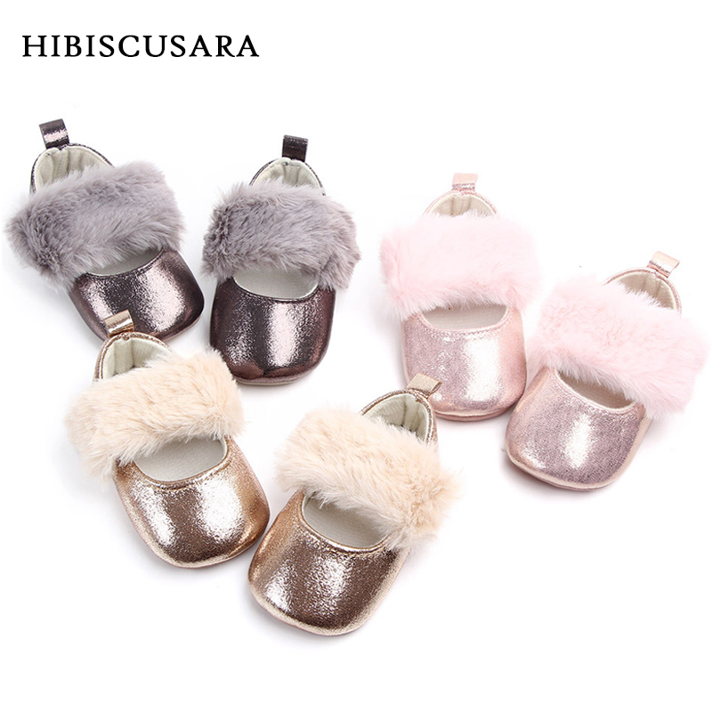 Faux Fur Baby Girls Mary Jane Shoes For Dress Holiday Wedding Infant Shiny PU Leather First Walkers Non-slip Prewalkers