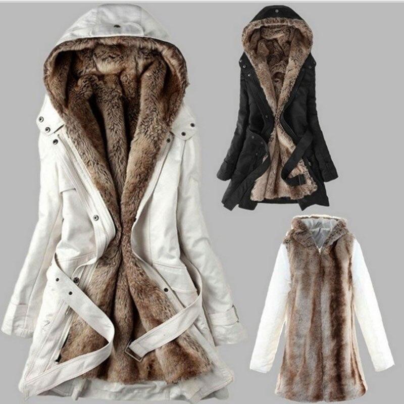Abrigo de invierno cálido negro con capucha de piel sintética chaqueta de Moda Verde ejército Delgado Forro de algodón abrigo Dropshipping