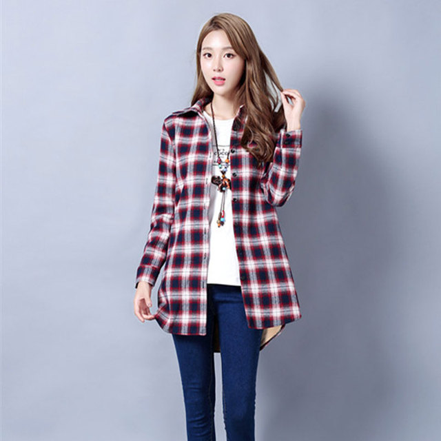 De manga comprida camisa Xadrez feminino das mulheres fluff solto grosso  algodão quente vento colégio Preto 639a3ebb8e5d5