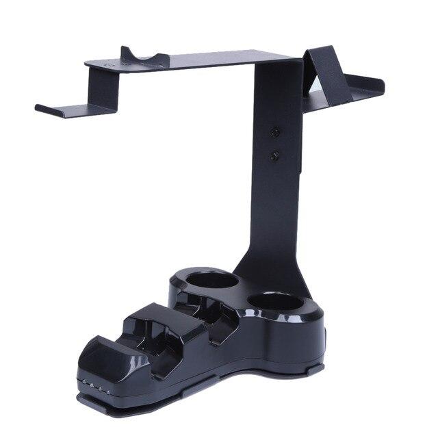 4 в 1 Игровой Контроллер Гарнитура Стенд с Зарядным Устройством Двойной вибрации 4 VR Контроллер Move Держатель Шок Для PS4 Playstation 4