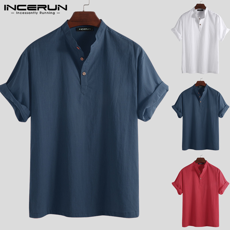 INCERUN 2020 Casual Solid Color Men Shirt Cotton Stand Collar Button Loose Short Sleeve Brand Shirts Men Tops Chemise Harajuku
