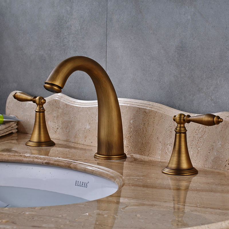 Antique Brass Bathroom Sink Faucet Solid Brass Widespread 3pcs ...