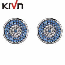 KIVN Fashion Jewelry Turkish Blue eye Pave CZ Cubic Zirconia Bridal Wedding Earrings for Women Mothers