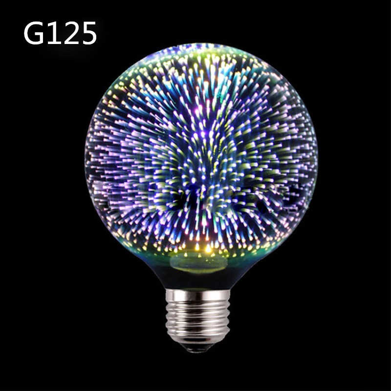 Led Light Bulb 3D Decoration Fireworks Bulb E27 Holiday Lights A60 ST64 G95 G80 G125 Novelty Christmas Bar Lamp Lamparas Bombill 3d fireworks led bulb light 220v e27 a60 st64 g80 g95 g125 novelty decoration lamp christmas lighting