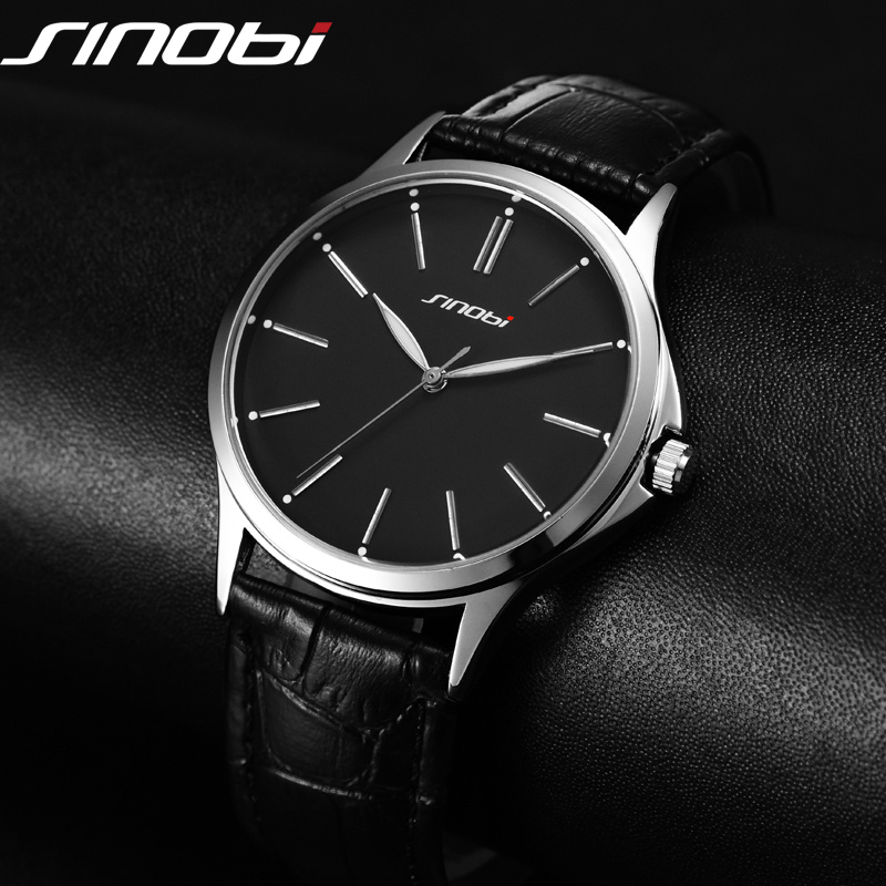 Moda ultra delgada simple casual reloj Japón cuarzo hombres de negocios Caballero tendencia correa de cuero Reloj clásico sinobi 2017
