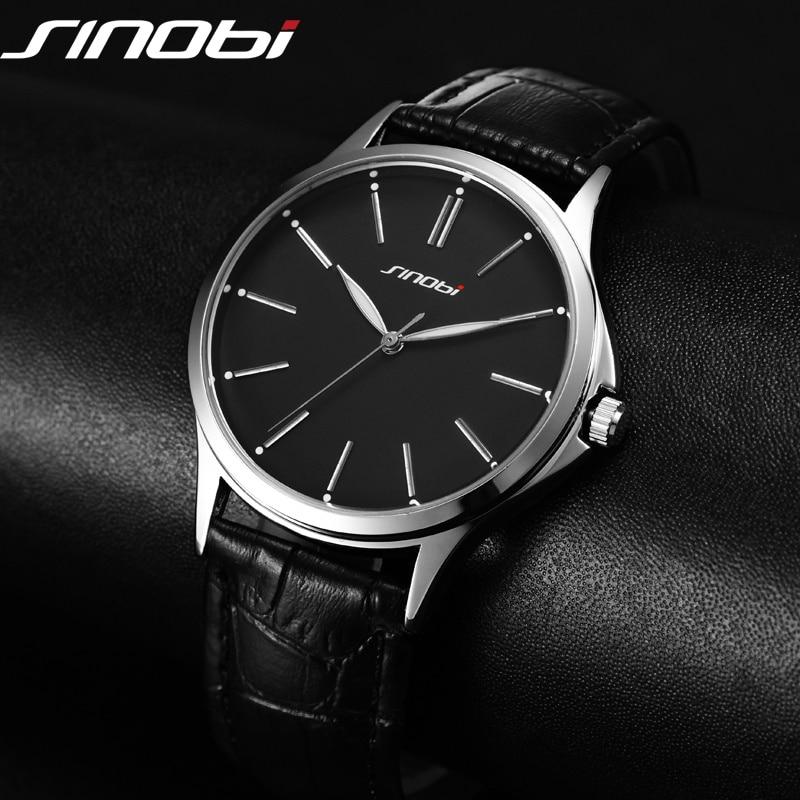 Ultra Dünne Einfache Art Und Weise Beiläufige Uhr Japan Quarz Männer Business Gentleman trend lederband Armbanduhr Classic SINOBI 2017