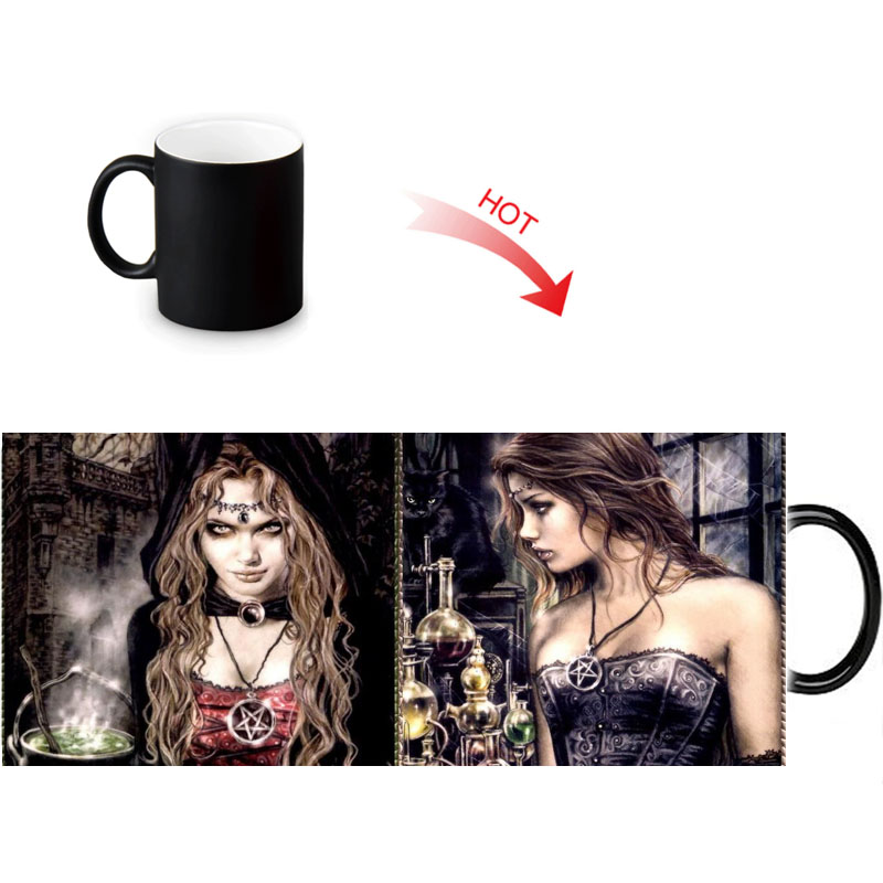 Creative Magische Kleur Veranderende Mok Hot Drink Onthullen Morph Mokken Victoria Frances Vampire Print Melk 12 Oz Koffie Thee Cup