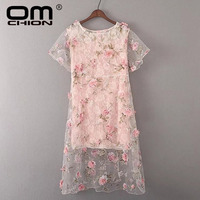 New 2017 Summer Dress Women Sexy Lace Floral Boho Dress Short Sleeve Print Three Dimensional Embroidery