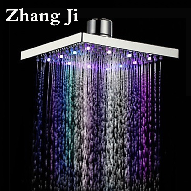 8 inch stainless steel LED light rainfall shower head Bathroom square water temperature Ceiling mounted led nozzle shower ZJ048 freeshipping brass 10 inch led shower head led shower temperature led water led bathroom faucet shower
