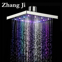 Zhang Ji 8 Inch Stainless Steel LED Light Rainfall Shower Head Bath Square Water Temperature Ceiling Colors Nozzle Shower