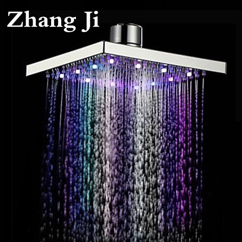 Zhang Ji 8 Polegada Aço Inoxidável Led Chuveiro Rainfall Cabeça Cores Bocal Do Chuveiro Banho de Temperatura Da Água Do Teto Quadrado