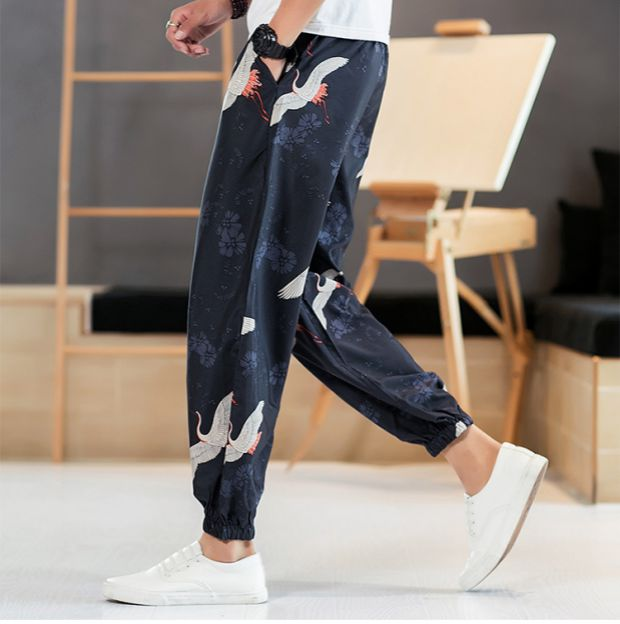LAPPSTER Men Crane Print Streetwear Joggers Pants 2020 Summer Harajuku Thin Harem Pants Mens Fashion Vintage Sinicism Trousers