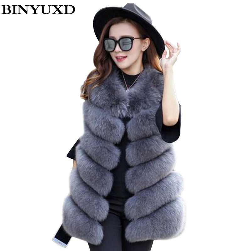 Shop1972984 Store BINYUXD Coat Women Faux Fox Fur Vest Brand Shitsuke Fuorrure Femme Fur Vests Fashion Luxury Peel Women's Jacket Gilet Veste