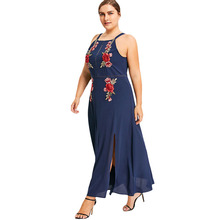 Plus Size 5XL Floral Embroidered Boho Beach Tank Dress Women Embroidery Sleeveless Chiffon Long Maxi Dress