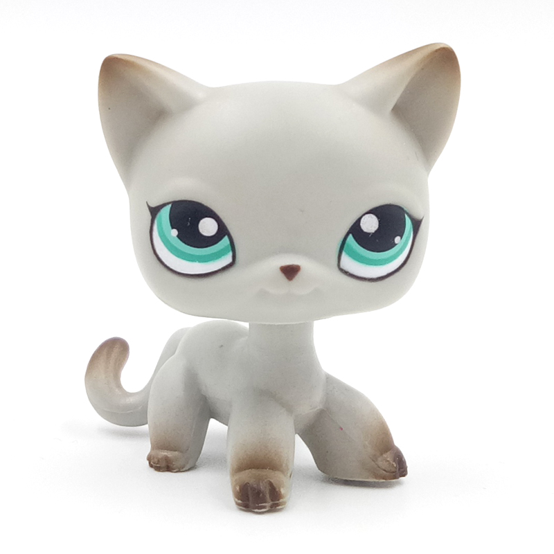 Rare pet shop lps toys standing #391 littlest grey short hair cat kitten with green eyes old original toys for children цена
