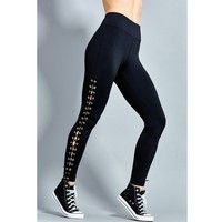Zmvkgsoa Fashion Sexy Women Fitness Legging Gothic Lace Up Skinny Trousers Hollow Out Pencil Pants Female