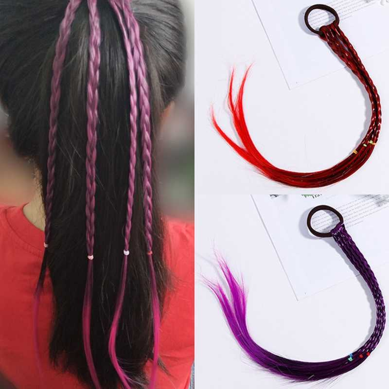 Women Girl Hair Rope Gradient Color Twist Braid Wig Ponytail Holder Rubber Band Aliexpress