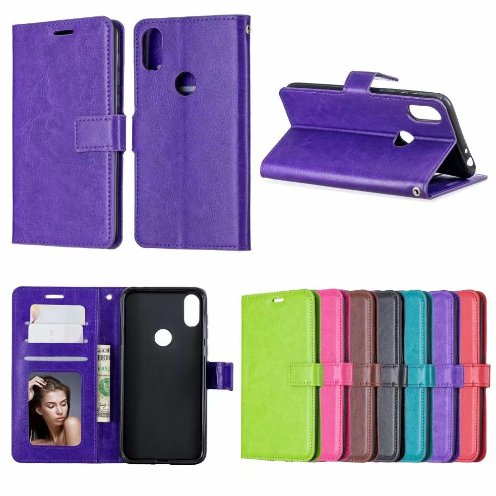 100pcs lot free shipping Soft TPU PU Leather Crazy Horse Wallet Case For Motorola Moto P40