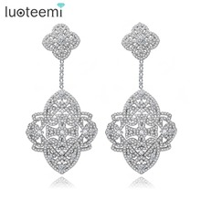 LUOTEEMI New Elegant Earrings Big Square CZ Crastal Flower Shape Drop Brincos White Gold Plated Jewelry